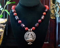 Old Jade Necklace  Yoga Jewelry  Buddha by ByDivineCollectibles, $64.00
