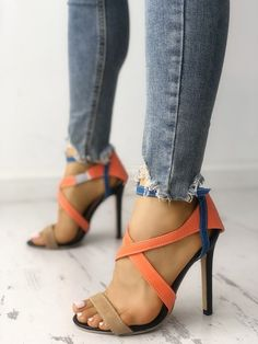 Shop Solid Satin Strappy Peep Toe Stiletto Sandals right now, get great deals at Chiquedoll Set Fashion, Trend Fashion, Fashion Shoes, Womens Fashion, Latest Fashion, Fashion Inspiration, Lace Up Heels, Pumps Heels, Stiletto Heels