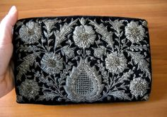 Vintage Zardozi Silver and Gold Embroidered Clutch by MonarkVintage on Etsy