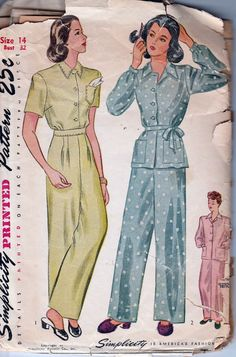 simplicity 1995 vintage sewing pattern 1940's