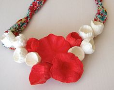 Red, White, Statement Necklace, Paper flowers necklace, Paper Jewelry, Fabric Necklace, Textile Jewelry, No metal, Boho, Hippie, Natural