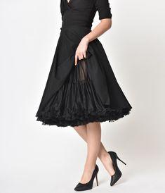 66ed29794ae04 1950s Style Black Tea Length Ruffled Chiffon Petticoat Crinoline in ...