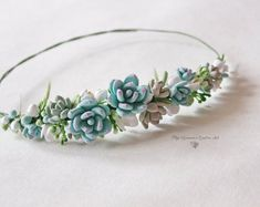 For the bridemaids/flower maiden Wedding Blue succulents headband Bridal head wreath with succulents and flowers boho floral crown Wedding floral tiara Flower crown Floral Crown Wedding, Bridal Crown, Bridal Tiara, Wedding Blue, Diy Wedding, Wedding Crowns, Blue Bridal, Wedding Veils, Dream Wedding