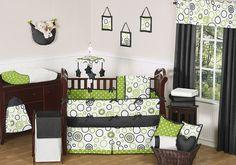 GREEN BLACK WHITE CIRCLE POLKA DOT BOY GIRL BABY BEDDING CRIB SET MADE IN USA