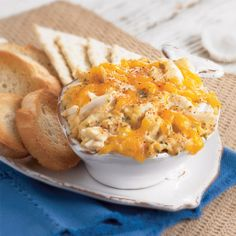 CRABMEAT Au GRATIN from Zatarains.com ~ This recipe does double duty as a main dish or as a appetizer, served with toasted French bread or crackers. Makes 6 (1/2-cup) servings. Prep Time: 15 minutes Cook Time: 30 minutes