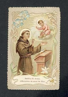 Holy card lace canivet: Saint Anthony of Padova (107276)