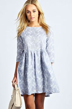 Rosie Embroidered Floral Smock Dress