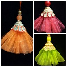 Beautiful DIY latkans / Tassels for blouse lehanga sarees Saree Tassels Designs, Saree Kuchu Designs, Tassel Jewelry, Fabric Jewelry, Handmade Rakhi Designs, Fabric Flowers, Embroidery Designs, Textiles, Sari