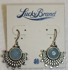 NWT Lucky Brand Antiqued Silver Tone Blue Stone Tribal Style Lotus Drop Earrings #LuckyBrand #DropDangle