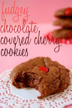 These Chocolate Covered Cherry Cookies are crisp on the outside and soft and fudgey on the inside like a rich brownie. Their subtle cherry flavor and ganache drizzle put them over the top! Chocolate Covered Cherry Cupcakes, Cherry Cookies, Chocolate Morsels, Chocolate Treats, Chocolate Chocolate, Wine Cupcakes, Cookie Recipes, Dessert Recipes, Yummy Cookies