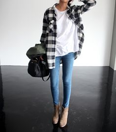 flannel, white t-shirt and light denim
