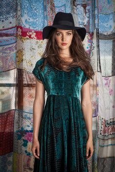 Printed Velvet Party Dress by Johnny Was Clothing