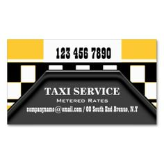 Taxi cab driver services yellow black business card templates. Make your own business card with this great design. All you need is to add your info to this template. Click the image to try it out!