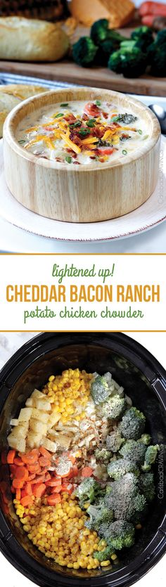 Slow Cooker Cheddar Bacon Ranch Potato Chicken Chowder - your favorite stuffed baked potato deconstructed into the ultimate comfort soup with NO butter and super easy in the crockpot.