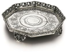 Portuguese, Silver Salver 19C. Open-work design. Footed base.