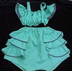 Vintage Jade Green 2 PC Girls Sun Set Suit Rumba Ruffles | eBay