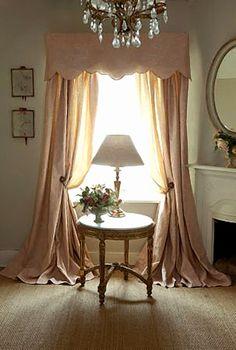 Deco Rose, Custom Made Curtains, Custom Window Treatments, Victorian Window Treatments, Custom Windows, Window Dressings, Curtains With Blinds, Burlap Curtains, Blush Curtains