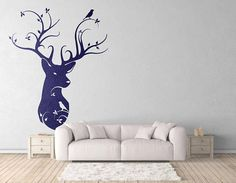 Naturalist Style Deer Head - Wall decals for magical minds...    Price : 9.90 EURO ( S&H if applicable)  ... HashTags : #brutalvisual #brutalvisualstudio #handmade #custom #etsy #customdesigns #brutal #WallDécor #bedroomwalldecor #wallstickers #decal #walldesign #mystic #sticker #moderndesign #deer #deerdecal #deerwalldecal #weddinggift #nature  As seen on the images... this is a Naturalist style Deer head in a modern floral design. A beautiful stylized design for your home wall decor. Great…