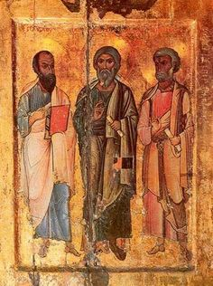 saints paul, andrew, and peter sinai | 13th or 14th century portable icon depicting the Apostles Paul ...
