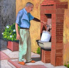 At the fountain - oil on board - 40x40 cm