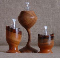 Wooden shelf style oil lamp holder set of 2 clear for Wooden kerosene lamp holder