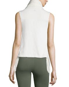 I0NZF Alo Yoga Cozy Up Draped Sport Vest, Natural