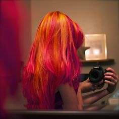 Meekakitty shared by てふてふ on We Heart It Dye My Hair, Your Hair, Violett Hair, Pink And Orange Hair, Orange Red, Burnt Orange, Magenta Hair, Red Purple, Et Tattoo