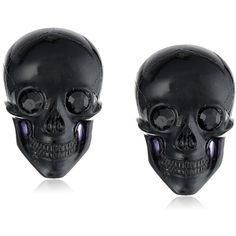 """Scare a little bit of style into your daily attire with the TARINA TARANTINO """"Classic"""" Black Lucite Skull Post Earrings. Add these smiling little skulls to you…"""
