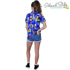 Womens Hawaiian Shirt Blue Beer Bottles Fancy Dress Costume Aloha Unisex