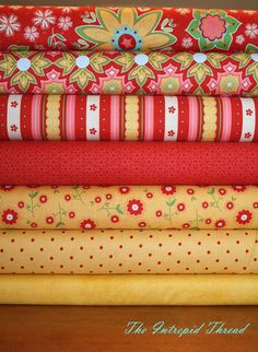 Delighted - Fat Quarter Bundle in Red / Yellow by The Quilted Fish for Riley Blake Cotton Quilt Fabric Fat Quarter Each of: Red Main Red