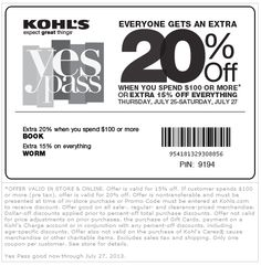 Pinned July 25th: 15% off everything and more at Kohls, or online via promo code WORM coupon via The Coupons App
