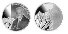 """This is the 1 Lat commemorative coin that relates to Rainis and his poem """"Mountain Climber"""" Essentially, striving for idealism can be lonely, but..."""