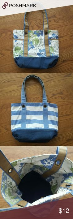 """Reversible floral and striped bag Reversible purse/tote that has blue and green hibiscus flowers with tan handles on one side and blue and white stripes with blue handles on the other. The bottom of the bag on both sides is a denim like material. Roughly 13"""" wide and 10"""" tall. Extremely spacious inside! On the side with the flowers there are also pockets on either side. Bags Shoulder Bags"""