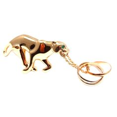 CARTIER Panther Emerald Trinity Yellow Gold Pin Brooch | From a unique collection of vintage brooches at http://www.1stdibs.com/jewelry/brooches/brooches/