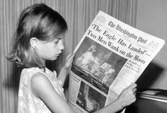 """""""From Wikipedia contributor Rufus330Ci: """"This is a picture of my mother holding the Washington News Paper on Monday, July 21st 1969 stating 'The Eagle Has Landed Two Men Walk on the Moon'.""""  -- """"The successful moon landing of Apollo 11 in July 1969 marked the fulfillment of the goal President John F. Kennedy set for the United States in his special message to Congress on May 25, 1961: """"of landing a man on the moon and returning him safely to the earth."""""""""""