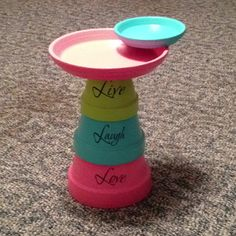 Flower Pot Bird bath -- everyone has been pinning these, and they look too simple NOT to make. Its adorable, but Id leave out the wording More