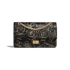 Handbag - Black & Gold - Crocodile Embossed Printed Leather & Gold-Tone Metal - Default view - see standard sized version Black Gold Jewelry, High Jewelry, Jewelry Shop, Chanel Handbags, Black Handbags, Women's Handbags, Chanel Store, Chanel News, Chain Shoulder Bag