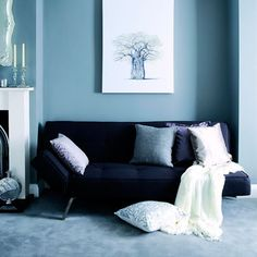 Lounge blue walls and sofa, Blue Rooms, Decorating Ideas Living Room White, White Rooms, Small Living, Living Room Color Schemes, Living Room Designs, Blue Room Paint, Blue Kitchen Tables, Light Blue Rooms, Brown Color Schemes