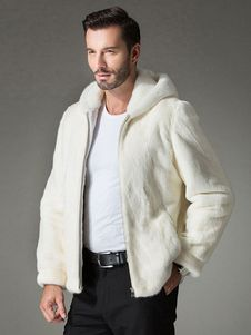 Mens Beige Chinchilla Fur Bomber Jacket 9944 Image | Men's Fur
