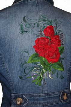 Ladies Jean Jacket 8P Love and Roses from our by CARAUT on Etsy