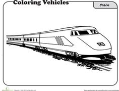 Free, Worksheets: Train Coloring Page printable coloring book pages, connect the dot pages and color by numbers pages for kids. Train Coloring Pages, Cool Coloring Pages, Coloring Sheets, Train Crafts, Train Illustration, Commuter Train, Good Times, Art For Kids, Scenery