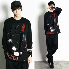 Remember Click Outer Space Print Pullover Sweater BLACK ONE SIZE Korean Wear #RememberClick #Crewneck