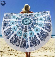 Cotton Microfiber Large Microfiber Round Bohemia Printed Tassel Knitted Beach Towel Toalla Playa Serviette De Plage Towel Cloak