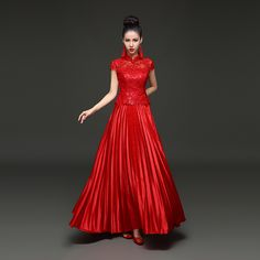Bride Red Lace Wedding Dress Long Quality Cheongsam Qipao Modern Chinese  Traditional Dress Oriental Evening Gown f1f0ed12f