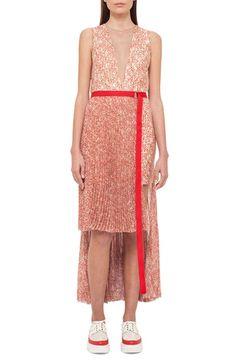 Akris Asymmetrical Belted Tweed Dress