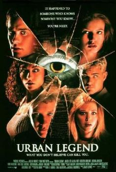 Urban Legend is a 1998 slasher film starring Alicia Witt, Rebecca Gayheart, and Tara Reid. The film is based on the premise that a killer is using the methods of death described in certain urban legends as a means to kill the victims. Halloween Horror Movies, Best Horror Movies, Scary Movies, Great Movies, Scary Scary, Creepy, Urban Legend Movie, Urban Legend 1998, Horror Movie Posters