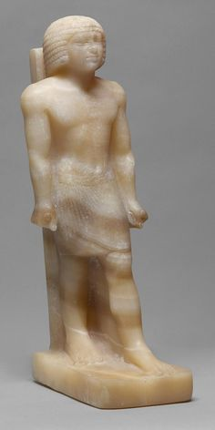 Kunsthistorisches Museum: Standing figure of Babaef, Grandson of Khafre. High Vizier and Overseer of Construction under King Shepeskaf. From Giza, Western Cemetery, Mastaba G5230, Late 4th Dynasty. Alabaster (Calcite). One of a set of as many as sixty representations of him in alabaster, red and black granite, and limestone Excavated by the Harvard University-Museum of Fine Arts Boston expedition in Giza in 1914. They are now housed in museum collections around the world.