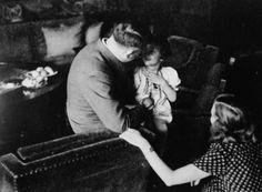Adolf Hitler and Eva Braun with Uschi Schneider, taken from Herta Schneider's photo albums.