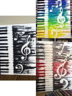 Abstract Music Crayon Art Custom orders available at my etsy shop, WhatComesToMind.