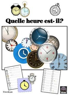 This product includes 7 worksheets single sided and 3 double sided worksheets) plus an activity for oral speech practice. Answer keys are included. The 24 hour clock is used throughout the activities fitting with the European style of telling time. School Resources, Learning Resources, Teacher Resources, French Lessons, French Class, Telling Time Activities, French Sentences, 24 Hour Clock, English Time